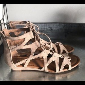 Lace up suede sandals size 7.5 NEW